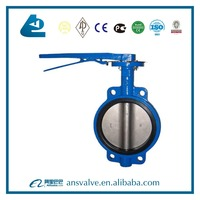 10 inch hand lever operated cast iron wafer butterfly valve