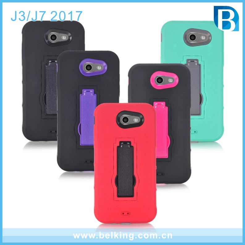 Robot Cell Phone Holder Stand Case Flexible Shockproof Rubber Bumper Hard Cover for Samsung J7 2015 SM-J700