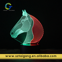 3D Illusion Rainbow Animal Shaped Lamp Led Night Light Projector