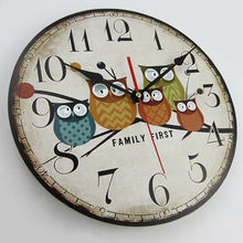 2018 Antique Style Wooden Wall Clock Owl Design Vintage MDF Wall Clock 3D Art Clock