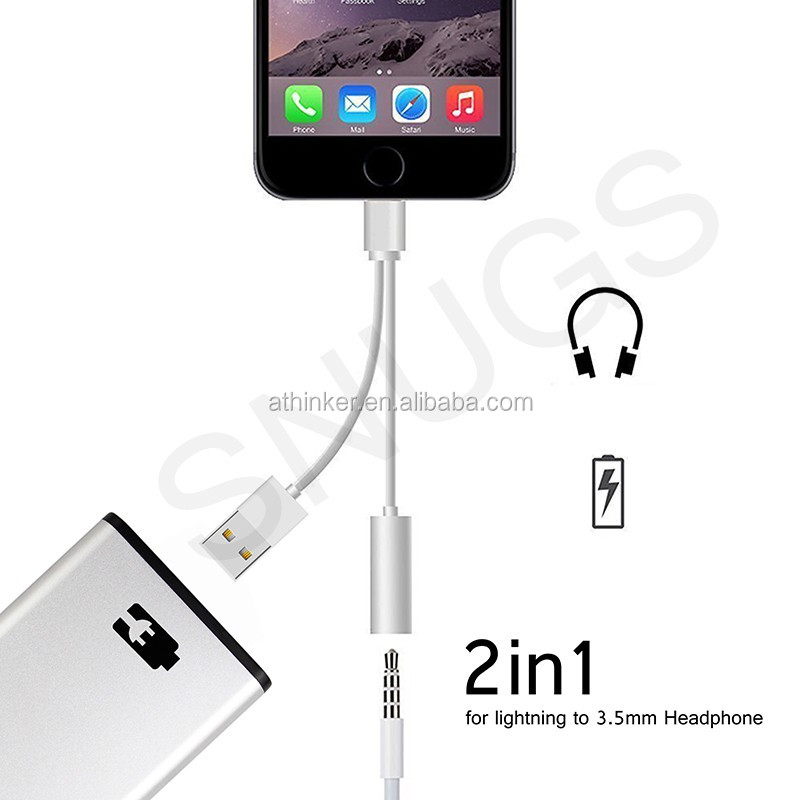Earphone splitter,Headphone Jack Adapter for iphone7 with USB charging