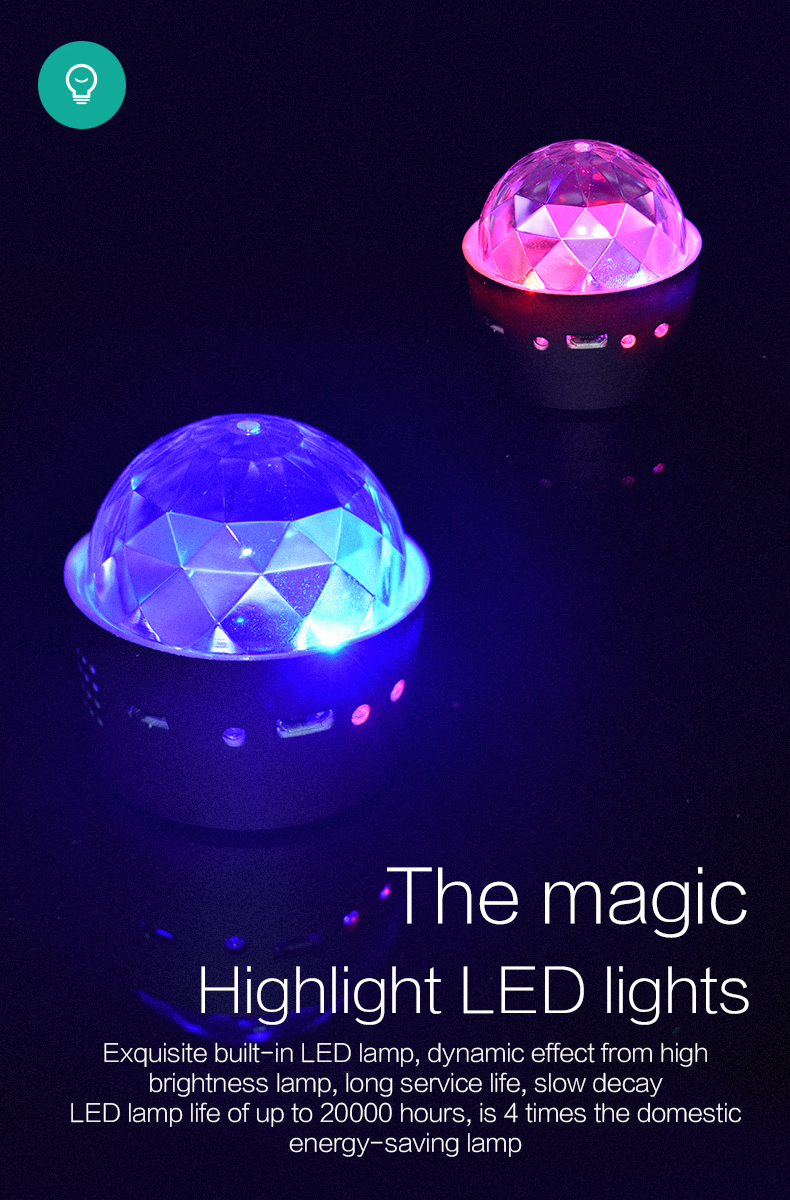 Small size Convenient to carry RGB DJ lamp 3w 5v USB charging wireless Romantic and carnivalcar atmosphere lights
