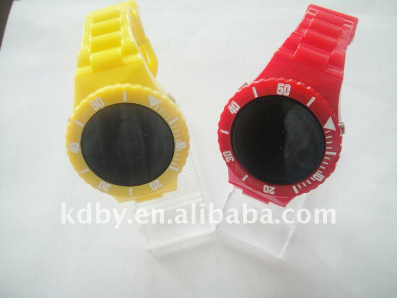 Mirror Face Champion Plastic LED Watch Set