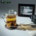 Hand Blown Grace Ware Tea Set with Tea Infuser,Personal Tea Cups,Pyrex Glass Tea Infuser Cup