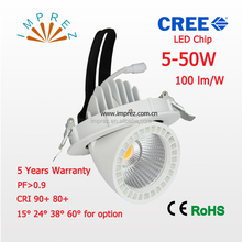 LED Trunk lamp 5W -50W adjustable recessed downlight shop usage LED gimbaled lamp 5 years warranty CE RoHS approval