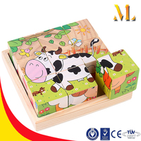 3D Wooden Puzzle childres' educational toys six-sided picture puzzles toys for kids