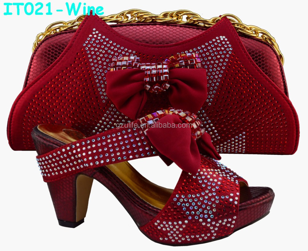 Wholesale Italian Style african Ladies shoes and bags in Red (IT021)
