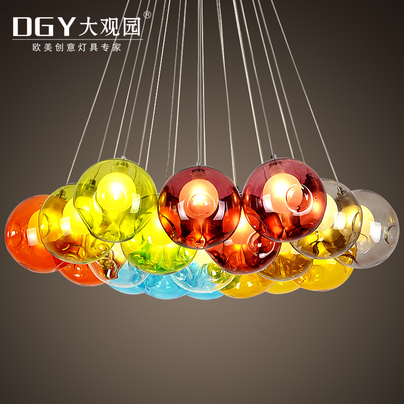 Colored Round Ball Decorative Indoor Chandeliers Lighting Lamps Hotel Modern Hanging Wire Hand Blown Glass Pendant Light