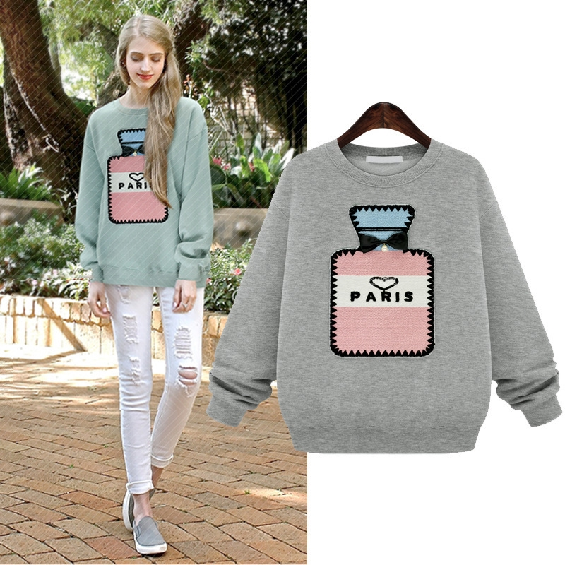sweet autumn cotton hoodies with pattern casual hoodies women perfume bottle applique pullover hoodies for women