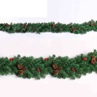 9FT LED Christmas Garland w Pinecones & Red Berries