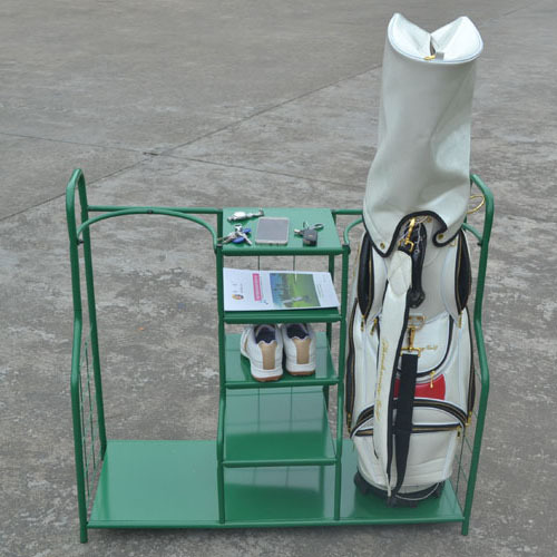Customized metal golf bag storage rack