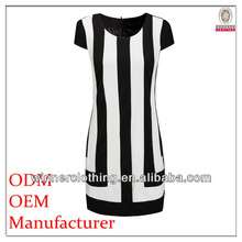 new fashion europe style ladies' casual sleeveless white and black stripe printed prom dresses 2014