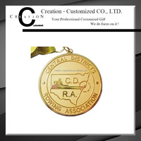 CD RA Association Rowing Sport Brass Medal Sandblasting In Gold Plating Medals