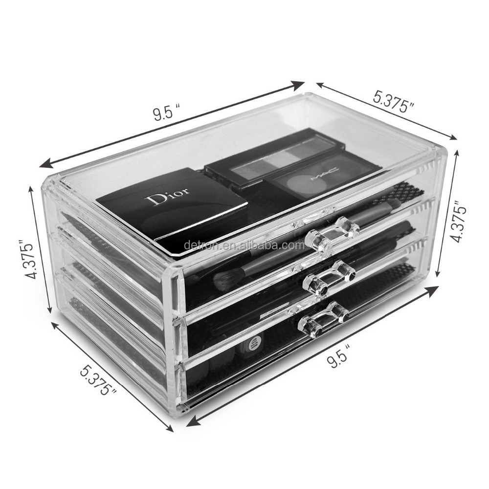 Wholesale Acrylic makeup Organizer/Acrylic Storage Box/Customized acrylic makeup organizer 3 drawers