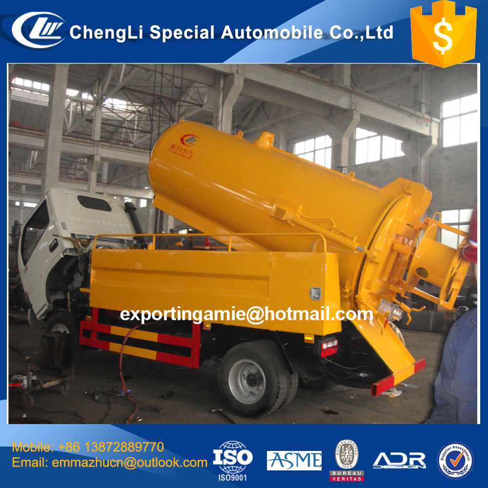 cheapest new 4x2 diesel 4000L dongfeng small sewage truck for sale