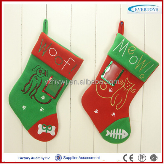 Woof and meow felt socks chrismas decorate