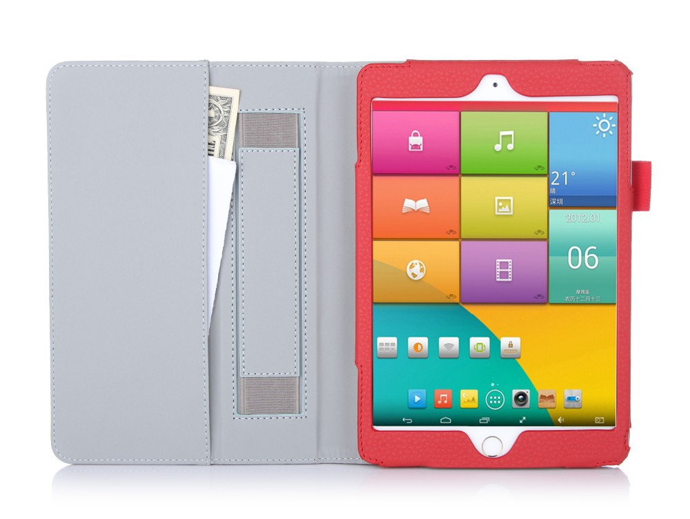 Multi Functionable Portable Tablet Leather Case for Ipad Mini 3 with Cash Pocket and Hand strap