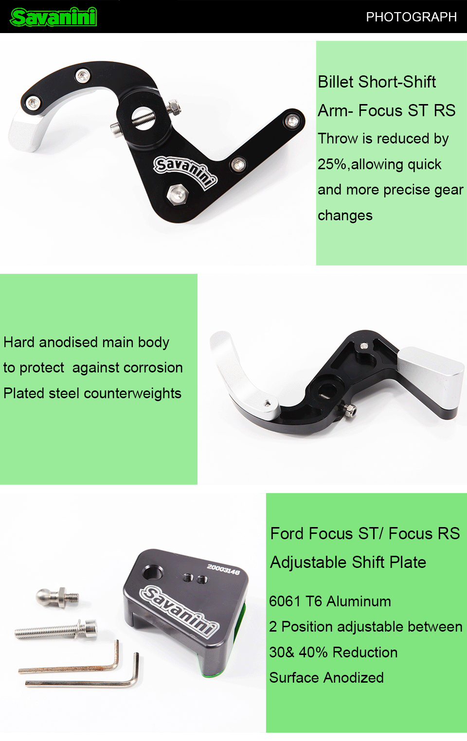 Aluminum alloy Billet Short-Shift Arm and Adjustable Shift Plate for Ford ST and RS MT Transmission High-quality