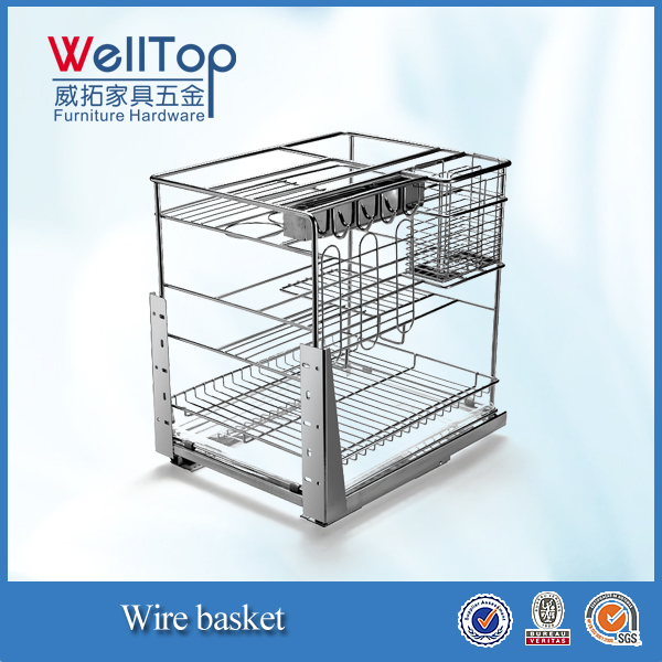NEW Chrome steel kitchen cabinet sliding pull-out wire basket VT-09.485