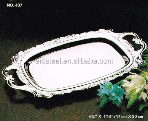 Wholesale stainless steel/chrome/silver plated serving Tray with plastic handle