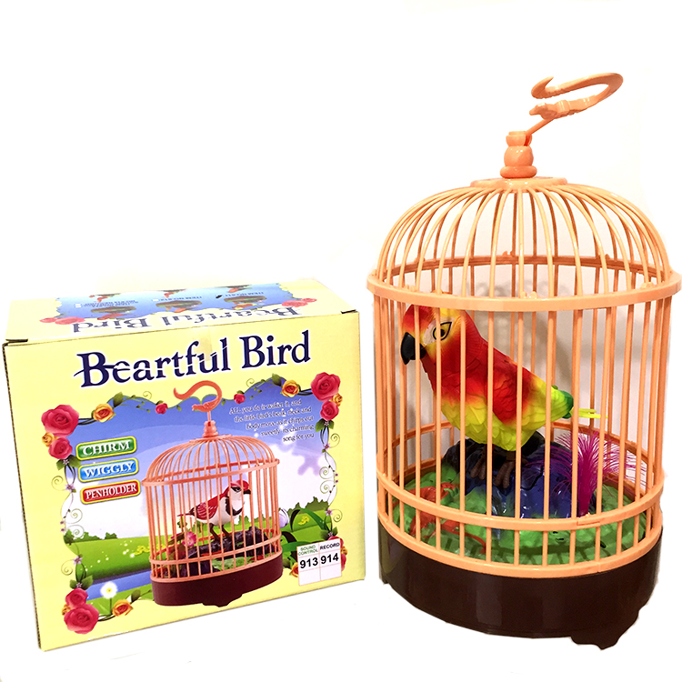 Single Parrot Sound Control Bird Cage Toy