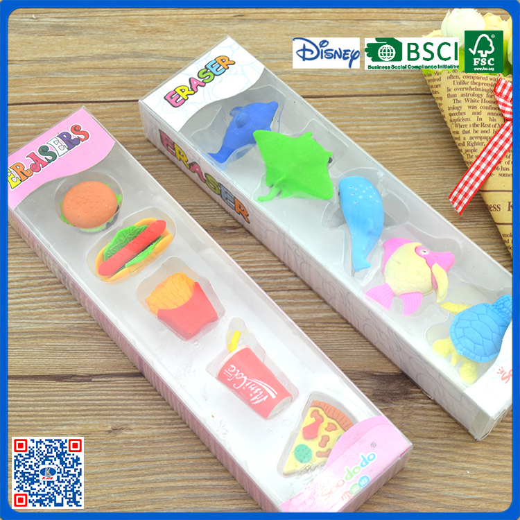 2017 newest kawaii 3d food and animal shaped erasers for children
