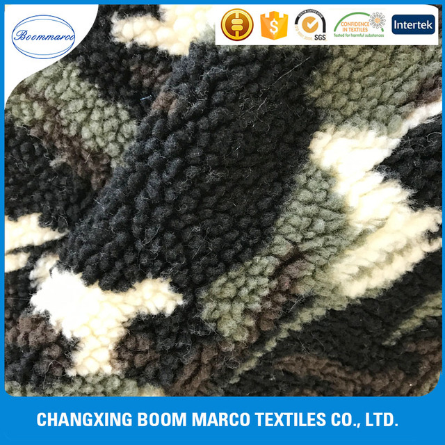 100 polyester synthetic faux wool lamb camouflage fur fabric for garment
