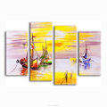 Seascape Oil Painting Prints Modern Giclee Printing on Canvas Abstract Canvas Art Prints 4-Panel Group Canvas Art for Wholesale