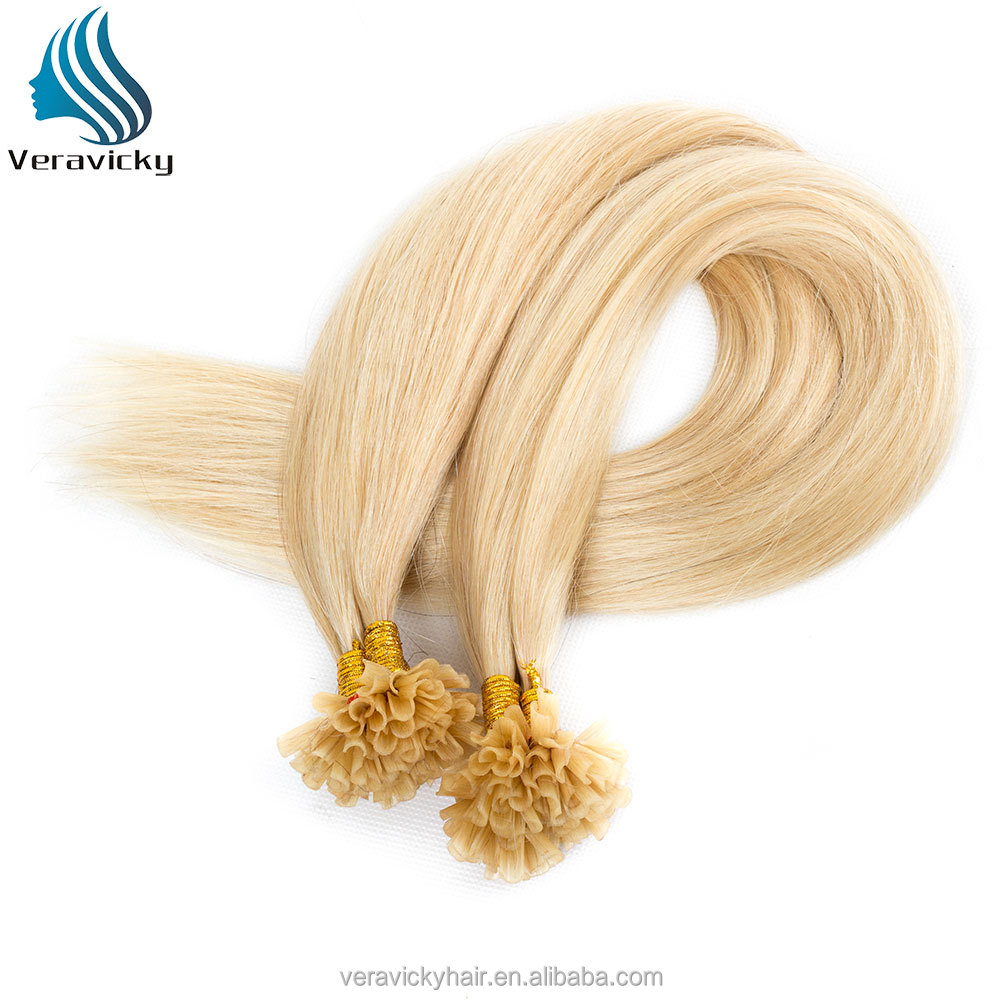 Top quality 100s/pack Blonde Color #613 Nail Stick Nail Tip Brazilian Virgin Human Hair Extensions
