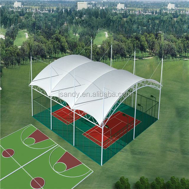 The Latest Material PTFE Membrane Fabric Structure Used Outdoor Sport /Tennis Stadium Court With Steel Truss Structure