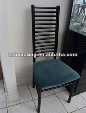 Black metal & blue velvet dining room chair