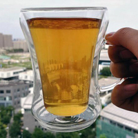 Beautiful design high borosilicate double wall glass cup for drinks