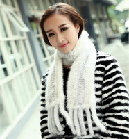 100% Real Knitted Mink Fur Shawls Wraps with Tassels Ladies Fur Shawl Winter