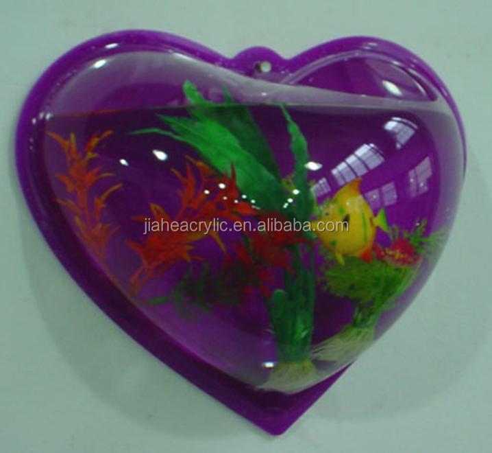 Heart shape wall mounted fish tank dongguan high quality for Plastic fish bowls bulk