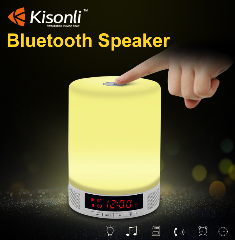 Romantic New Smart Touch Controlled LED Lamp Night Light Bluetooth Wireless Speaker With Alarm Clock TF Card