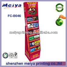 Retail corrugated cardboad display rack for chocolate shop retail /POP standing cardboard floor display for chocolate