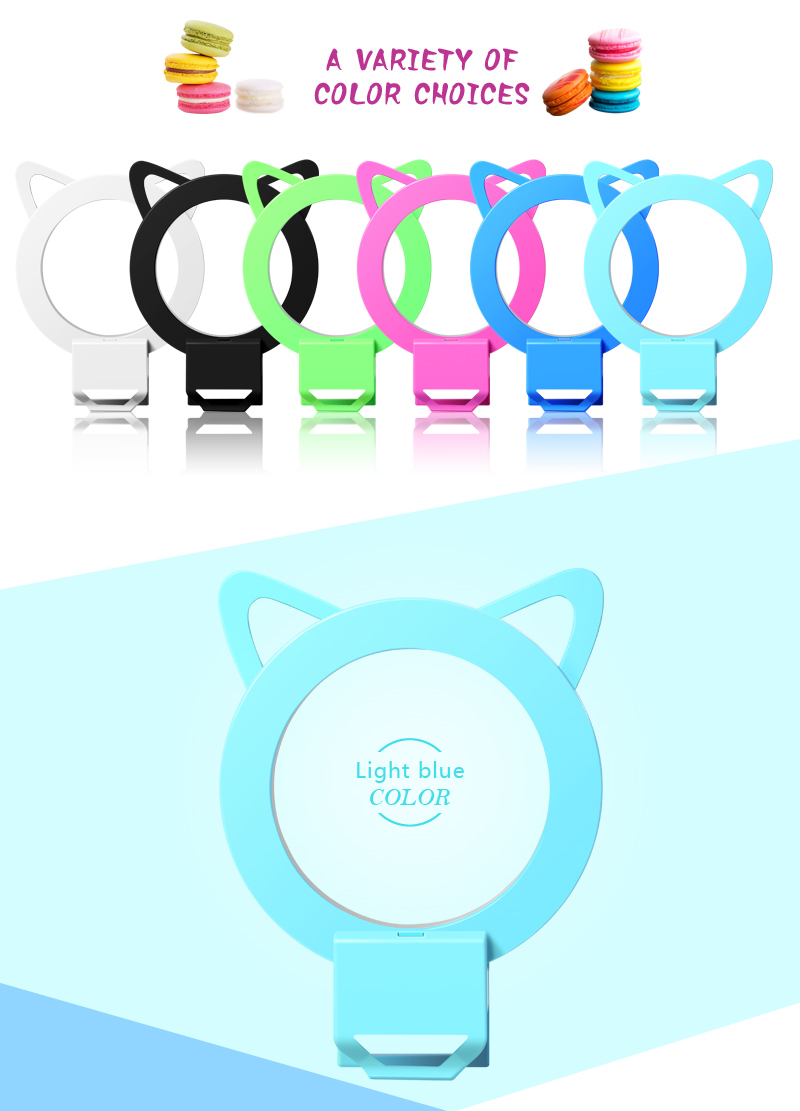 Portable usb charging selfie fill light mobile phone flash selfie led ring light with rabbit ears
