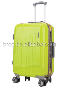 Hot sale famous brand logo durable candy color aluminum polycarbonate trolley luggage