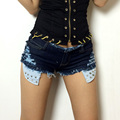 2016Women's new summer influx of European and American ultra-short denim shorts nightclub ladies big yards was thin trade