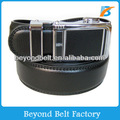 Beyond Men's Formal Black Split Leather Slide Dress Belt with Interchangeable Automatic Buckle