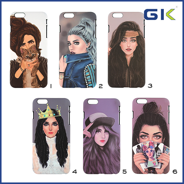 [GGIT] Hot Selling Beautiful Girl Patterns PC Cell Phone Cover For IPhone 6 Plus Luminous Hard Case