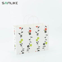 Custom flower print white paper shopping gift bag with twisted handles