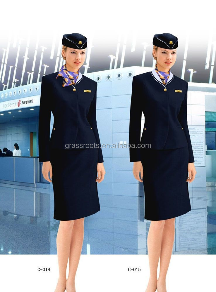 sexy airline stewardess air hostess in stockings uniform hat cap scarf skirt fancy dress costume