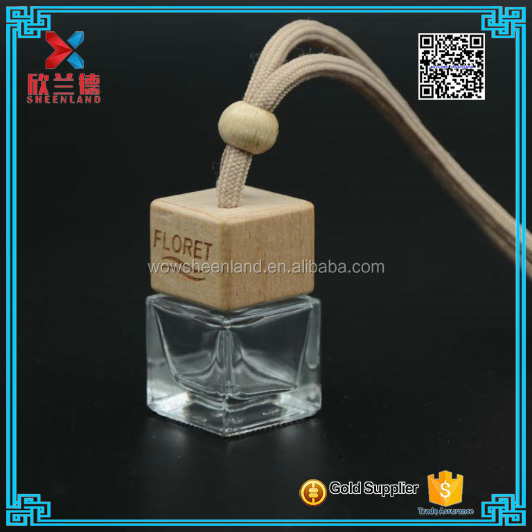 5ml 7ml high quality square bottle Car hanging glass perfume bottle with wooden cap