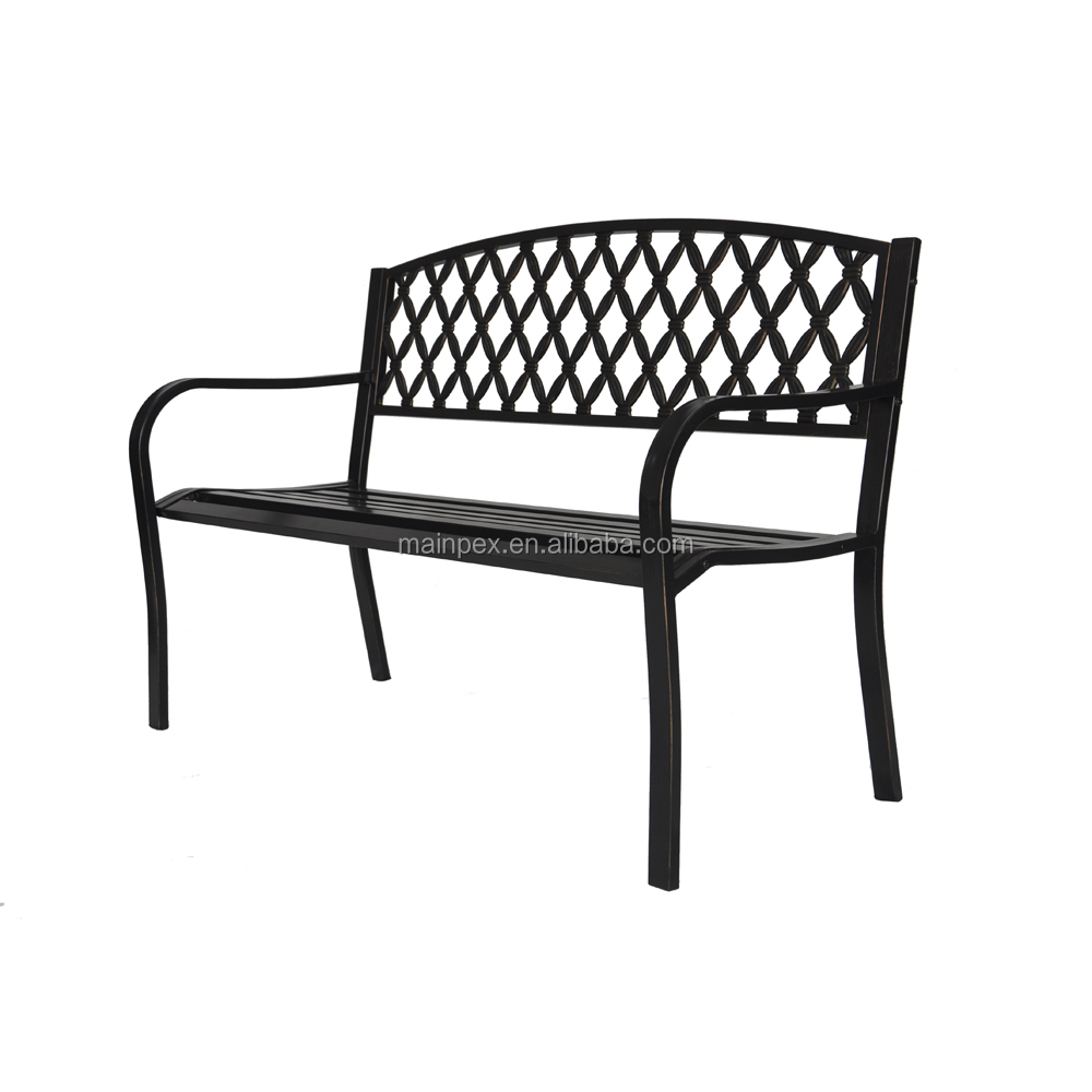 Patio Garden Bench Park Yard Outdoor Furniture Steel Frame Porch Chair