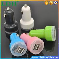 New Portable Mini Car Charger Adaptor Bullet Dual USB 2-Port for iPod iPhone 4 5 C S Samsung HTC iPad Blue LED MHM095