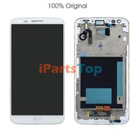 100% OEM Original Genuine White LCD Screen With Touch Screen Digitizer AND Front Frame Housing Assembly For LG Optimus G2 D802