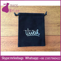 Custom logo 10x14cm black drawstring velvet Necklace bags with silver printing