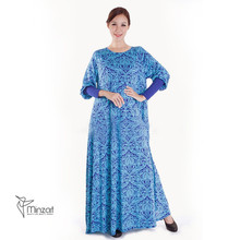 new Saudi Arabia short sleeve abaya printed dress for muslim women