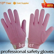 Practical Best sell women garden gloves pink color with pvc dots on palm